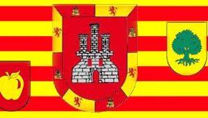 Bandera valenciana con escudos apellidos