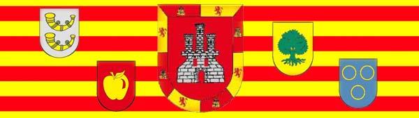 bandera valenciana con algunos escudos de familias valencianas